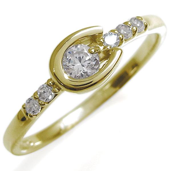 ホースシューリング・レディース・ダイヤモンド・リング・馬蹄・10金・指輪
