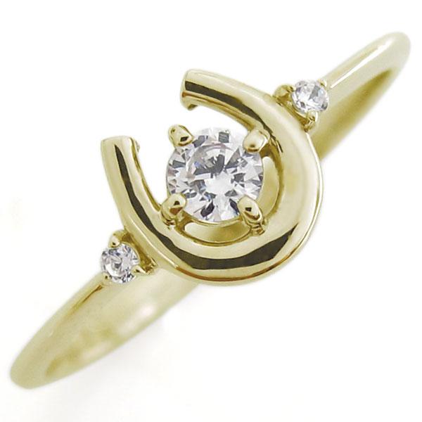 ダイヤモンド リング 馬蹄 指輪 ホースシュー K18 リング