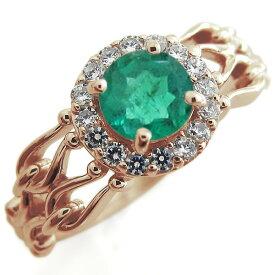 アンティーク エンゲージリング エメラルド クラシカルリング 取り巻き 婚約指輪