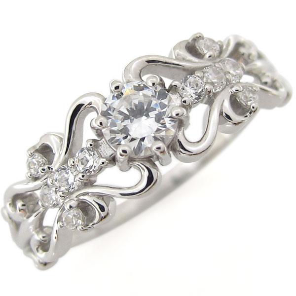 ダイヤモンドリング プラチナ ハート エンゲージリング 婚約指輪