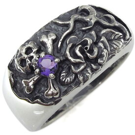【ポイント5倍】9/19 20時~ メンズ ドクロリング 骸骨 薔薇 リング 誕生石 シルバー 指輪
