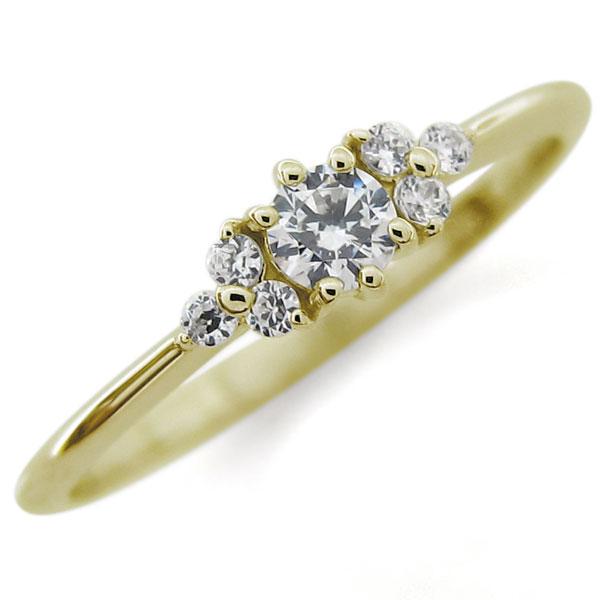 エンゲージリング 婚約指輪 ダイヤモンド 18金 シンプル リング
