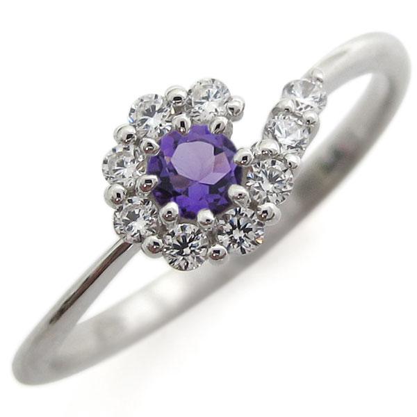 【送料無料】プラチナリング 結婚記念 アメジストリング 取り巻き 婚約指輪【RCP】10P06Aug16