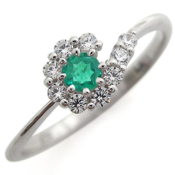 【送料無料】プラチナリング 結婚記念 エメラルドリング 取り巻き 婚約指輪【RCP】10P06Aug16
