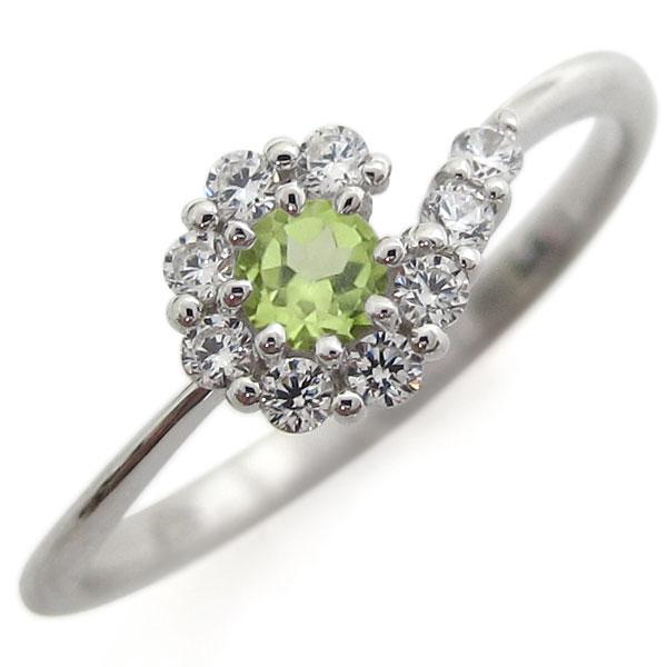 【送料無料】プラチナリング 結婚記念 ペリドットリング 取り巻き 婚約指輪【RCP】10P06Aug16