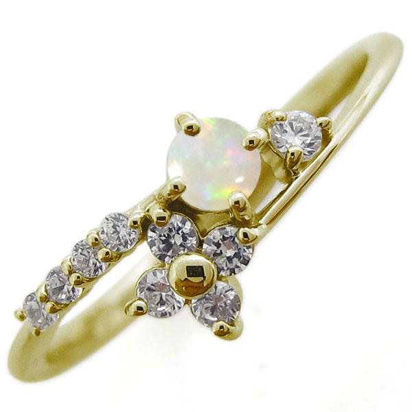 オパール ブライダルリング 結婚10周年 婚約指輪 10金 リング
