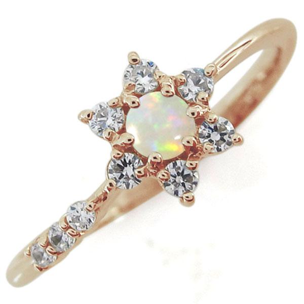 結婚10周年 オパール 流れ星 婚約指輪 ブライダルリング 10金