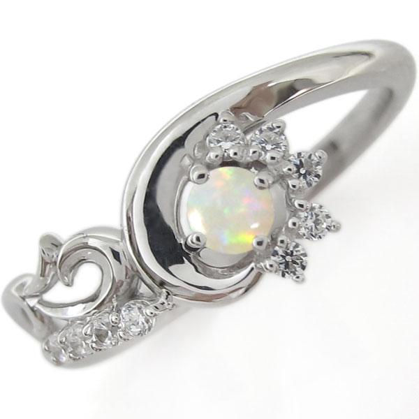 プラチナリング メモリアルリング 結婚10周年 オパール 婚約指輪