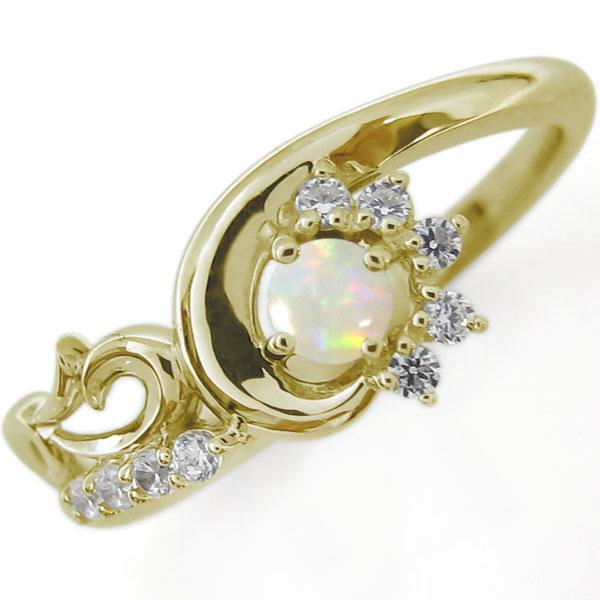 結婚10周年 ブライダルリング 唐草 婚約指輪 オパール K10