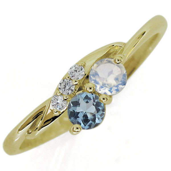 シンプルリング ロイヤルブルームーンストーン 婚約指輪 10金 エンゲージリング 上品