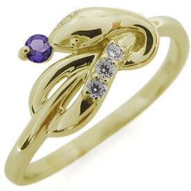 誕生石 ピンキーリング スネークリング ヘビ 指輪 K18