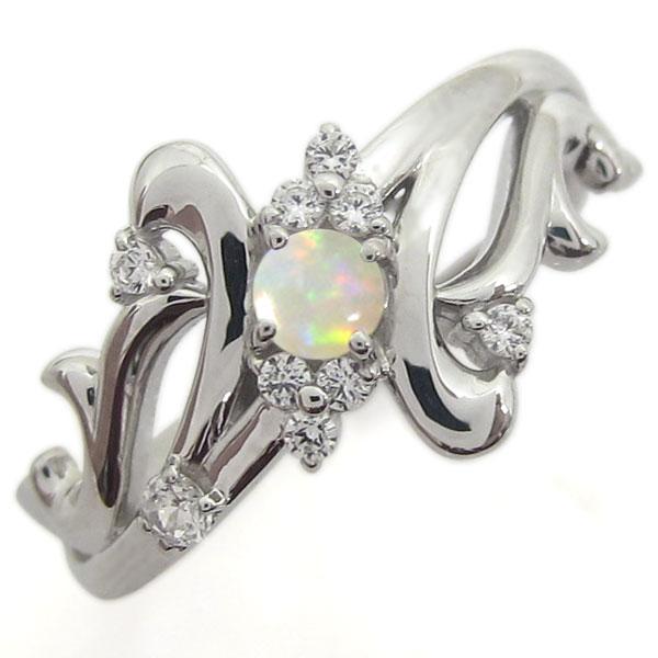 結婚記念日 プラチナリング オパール 婚約指輪 メモリアルリング