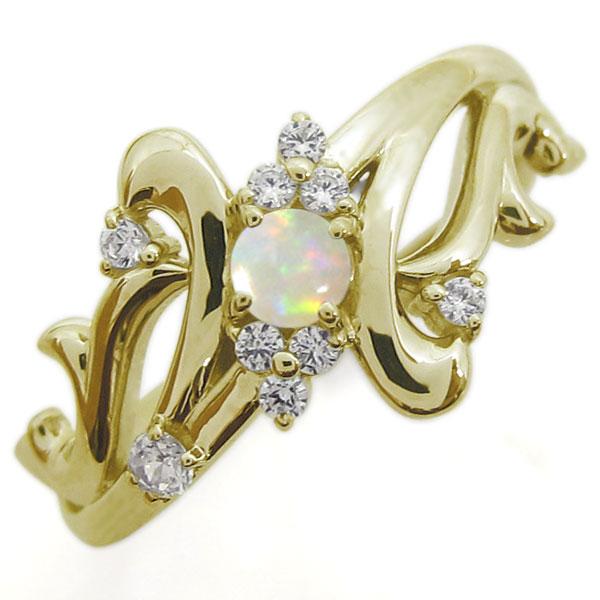 アラベスク オパールリング 結婚10周年 唐草 婚約指輪 K18