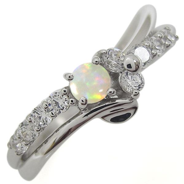 プラチナリング 結婚10周年 オパール 婚約指輪 V字 メモリアルリング