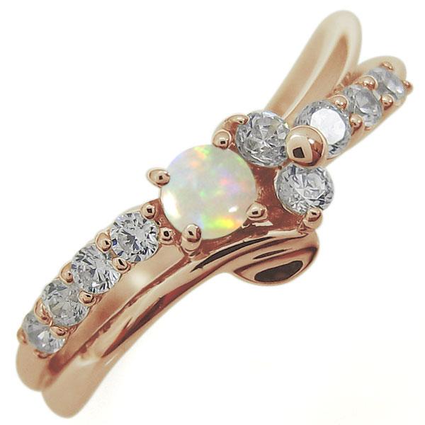 結婚10周年 ブライダルリング オパール エンゲージリング Vライン 婚約指輪