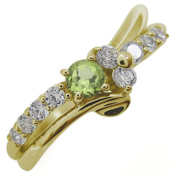 【送料無料】ペリドットリング 結婚10周年 Vラインリング 婚約指輪 10金【RCP】10P06Aug16
