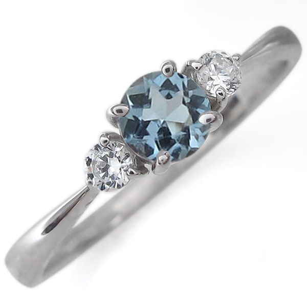 婚約指輪 プラチナ アクアマリンサンタマリア エンゲージリング シンプル リング