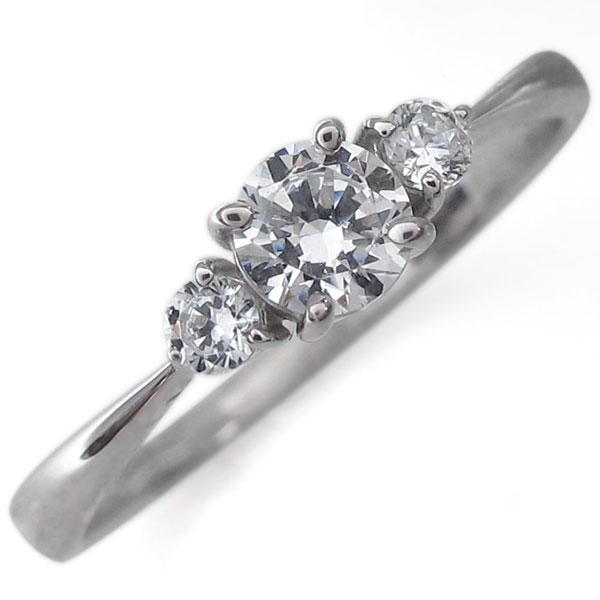 婚約指輪 プラチナ ダイヤモンド シンプル ラウンドブリリアントカット エンゲージリング ダイヤリング