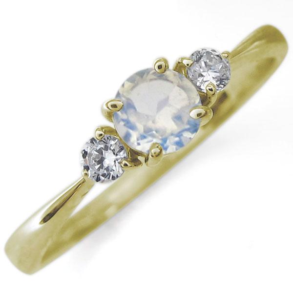 K18 ロイヤルブルームーンストーン エンゲージリング シンプル 婚約指輪