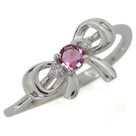 プラチナ リボンモチーフリング 誕生石 エンゲージリング 蝶結び りぼん 婚約指輪