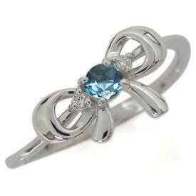 プラチナリング ブルートパーズ リボンモチーフリング りぼん 指輪