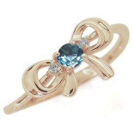 リボンモチーフ ブルートパーズ リング 可愛い りぼん 10金 指輪