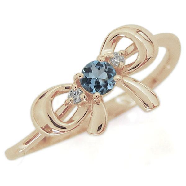 リボンモチーフ アクアマリンサンタマリア エンゲージリング 可愛い りぼん 10金 婚約指輪