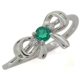 プラチナリング エメラルド リボンモチーフリング りぼん 婚約指輪