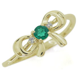 エメラルド リボンリング 蝶結び K18 大人可愛い 指輪 りぼん