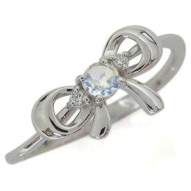 プラチナリング ロイヤルブルームーンストーン リボンモチーフリング りぼん 婚約指輪