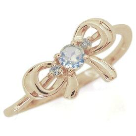 リボンモチーフ ロイヤルブルームーンストーン エンゲージリング 可愛い りぼん 10金 婚約指輪