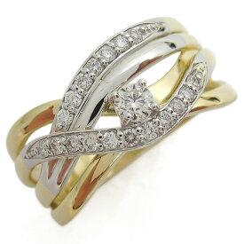 18金 プラチナ コンビリング ダイヤモンド 婚約指輪 エンゲージリング