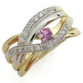ラインリング ピンクサファイア 指輪 K18 プラチナ コンビリング