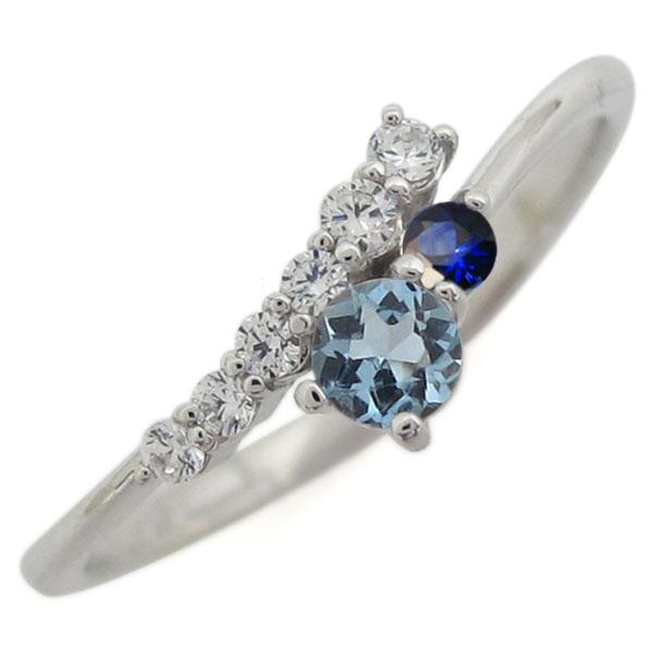 シンプル 婚約指輪 アクアマリンサンタマリア エンゲージリング レディース プラチナ