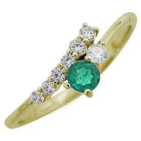 K18 シンプル エンゲージリング エメラルド エレガント 婚約指輪