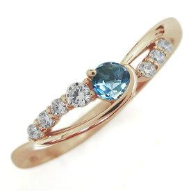 【ポイント5倍】24日20時から ブルートパーズリング 婚約指輪 誕生石 10金 シンプルリング