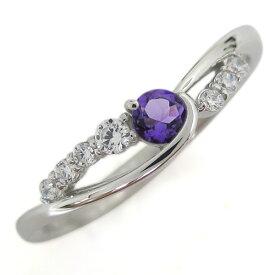 【ポイント5倍】誕生石 プラチナ アメジスト レディース 婚約指輪 シンプルリング ホワイトデー プレゼント