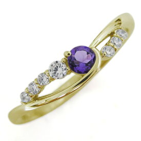 【ポイント5倍】18金 アメジスト レディースリング 婚約指輪 シンプル 誕生石 クリスマス プレゼント