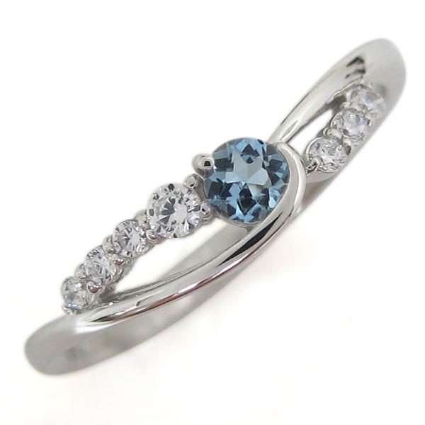 誕生石 プラチナ アクアマリンサンタマリア レディース 婚約指輪 シンプルリング