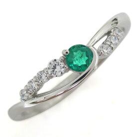 婚約指輪 エメラルド リング 5月誕生石 プラチナ レディース エンゲージリング シンプル
