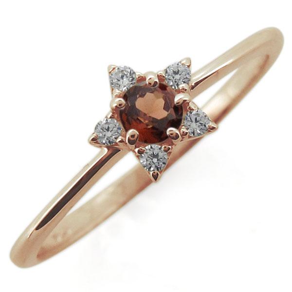18金 ガーネットリング スター 星 1月誕生石 婚約指輪