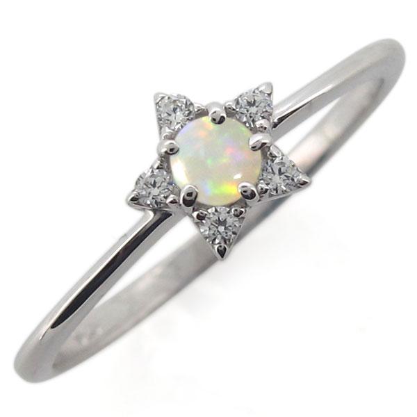 プラチナ 星 レディースリング オパール 婚約指輪 スターリング