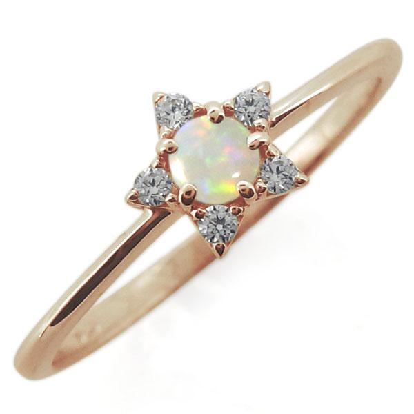 18金 オパールリング スター 星 10月誕生石 婚約指輪
