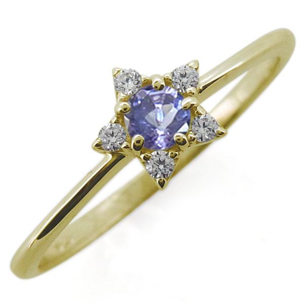 【送料無料】選べる誕生石 10金 星モチーフ レディースリング 婚約指輪【RCP】10P06Aug16