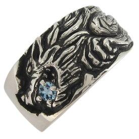 【ポイント5倍以上還元中】23日23:59までシルバーリング メンズ ウルフ 狼 誕生石 指輪 オオカミ
