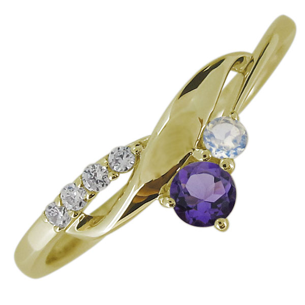 エンゲージリング 18金 婚約指輪 レディース 天然石 シンプル