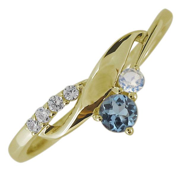 婚約指輪 リング 18金 アクアマリンサンタマリア 3月誕生石 レディースリング 上品