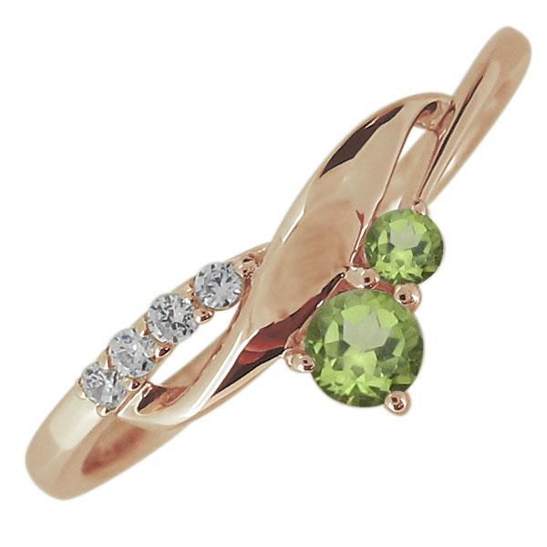 婚約指輪 レディース 天然石 ペリドット リング シンプル エレガント