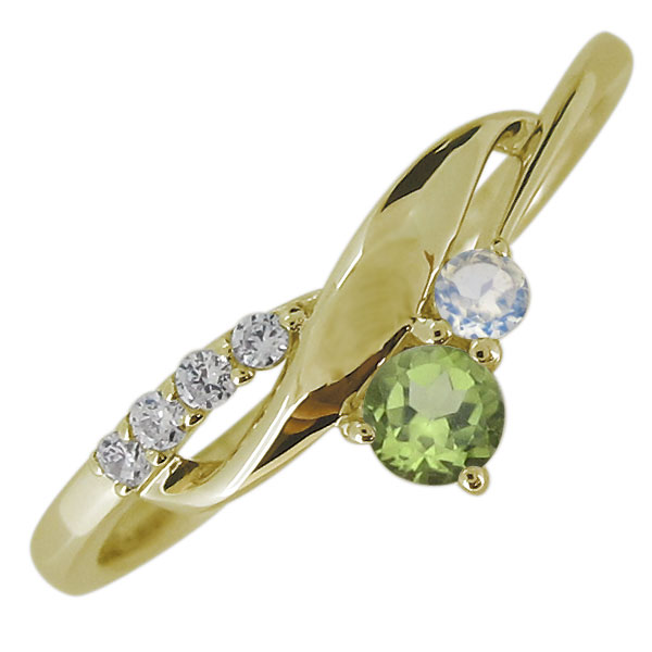 婚約指輪 リング 18金 ペリドット 8月誕生石 レディースリング 上品