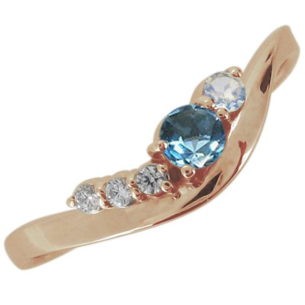婚約指輪 シンプル 天然石 ブルートパーズ 11月 エンゲージリング 10金 上品